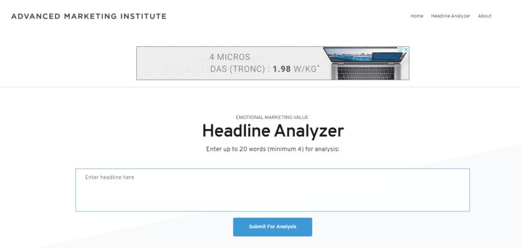 Advanced Marketing Institute – Emotional Marketing Value Headline Analyzer