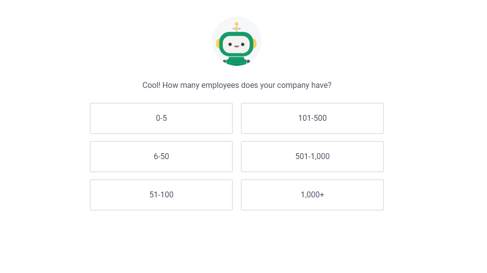 frase.io predashboard question, how many employees are there in your comapany