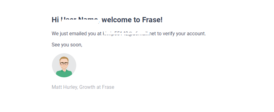 frase.io signup step verification of email address