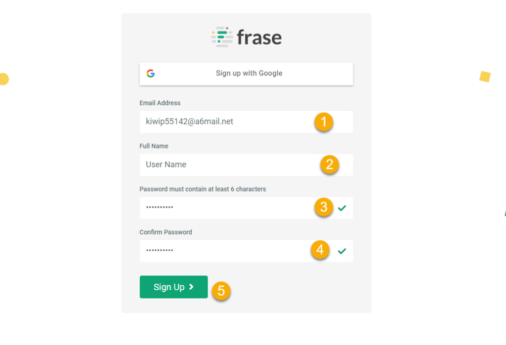 steps to signup for frase.io